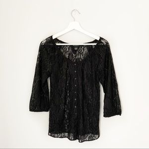 Lucky Brand Lace Button Up Blouse
